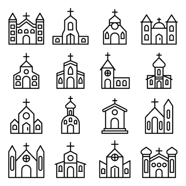 Church icons set, outline style Premium Vector