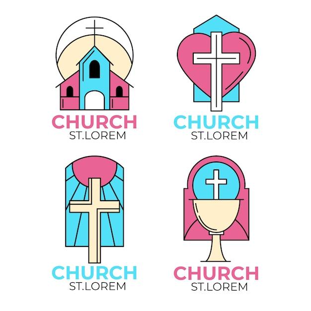 Church logo collection template theme Free Vector