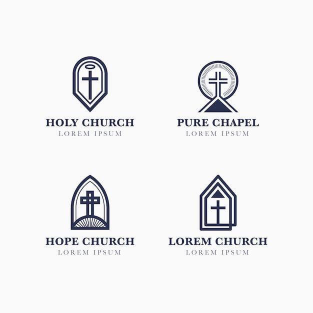 Church logo design collection Free Vector