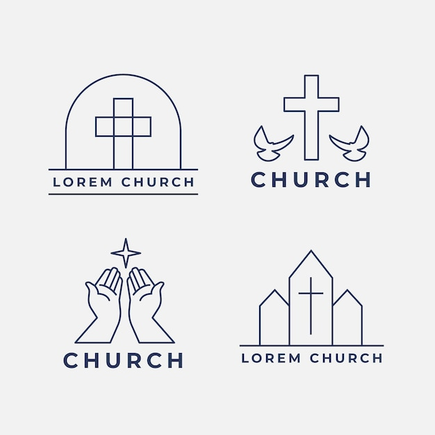 Church logo pack Free Vector