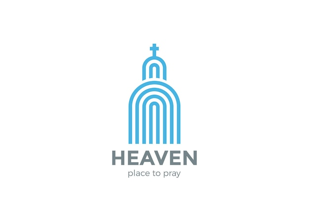 Church logo religion logo    . linear style Free Vector