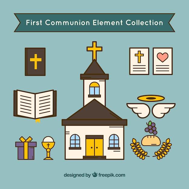 종교적 요소와 설정 교회 무료 벡터