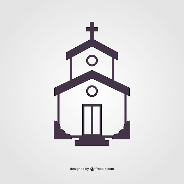 Church silhouette vector Free Vector