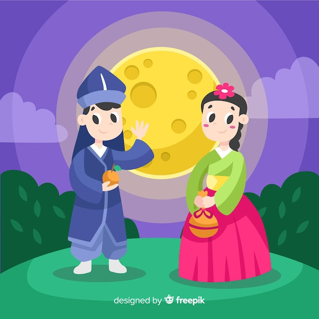 Chuseok background in flat style Free Vector