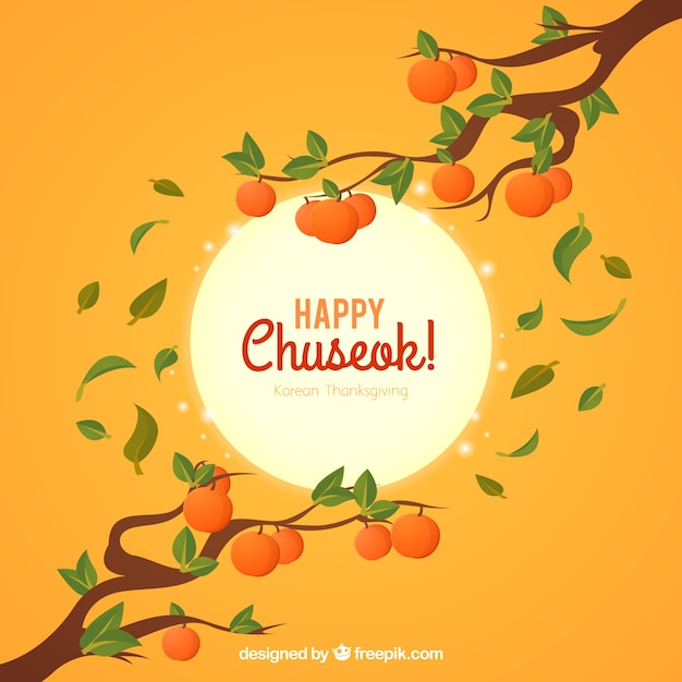 Chuseok background with branches and fruits Free Vector