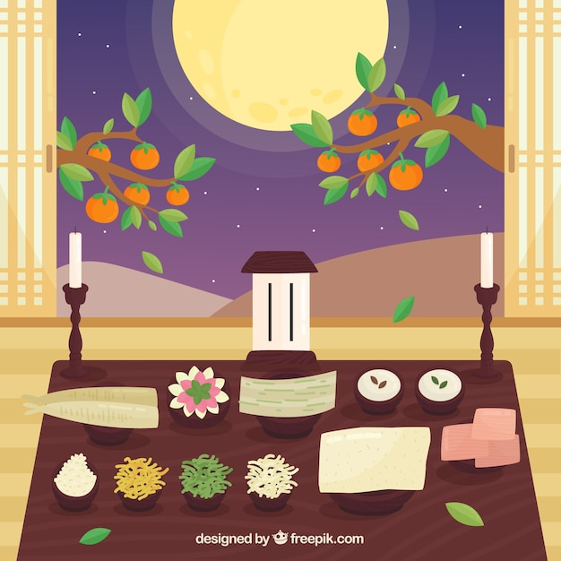 Chuseok composition with flat design Free Vector