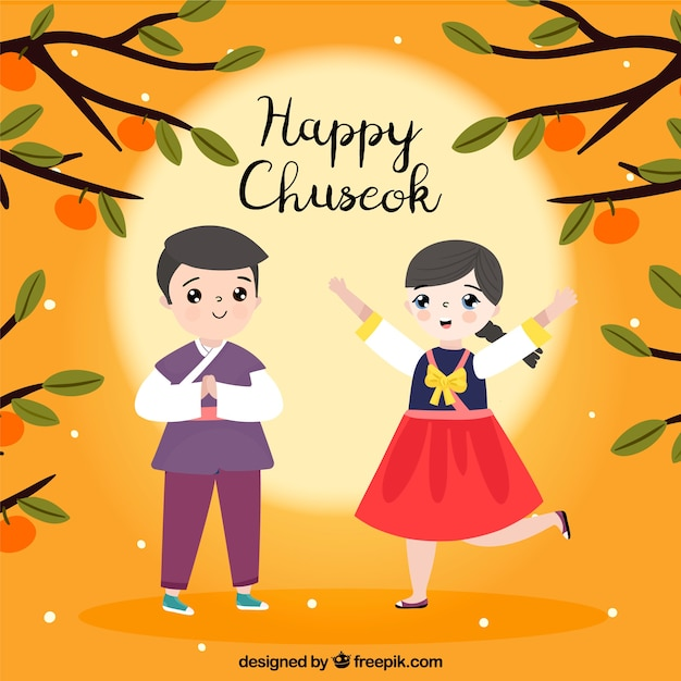 Chuseok composition with happy couple Free Vector