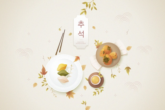 Chuseok concept in flat design Free Vector