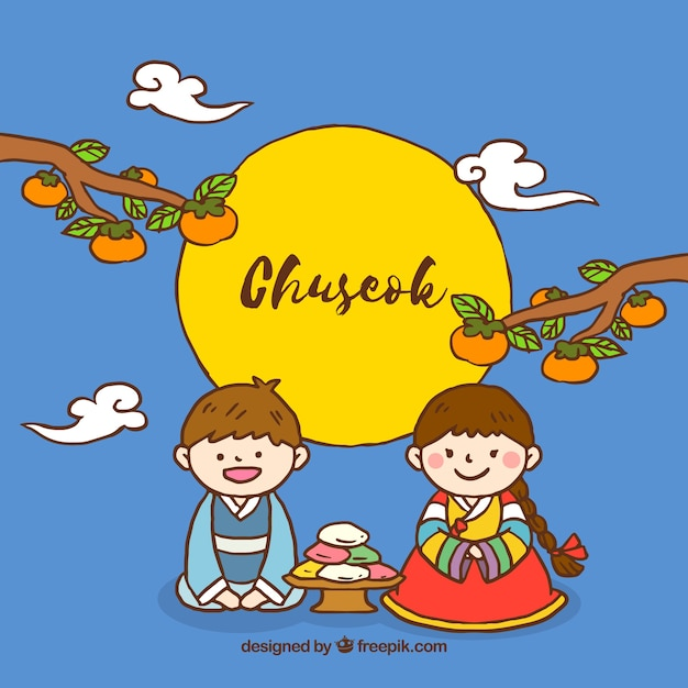 Chuseok festival background Free Vector