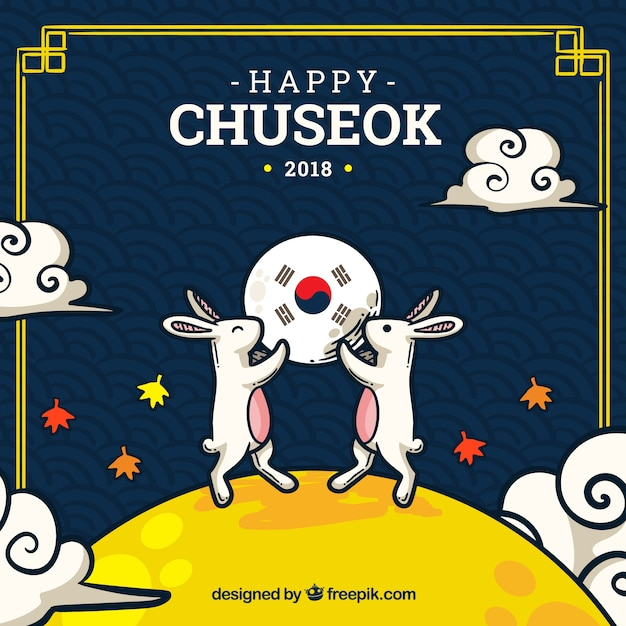 Chuseok festival background Free Vector