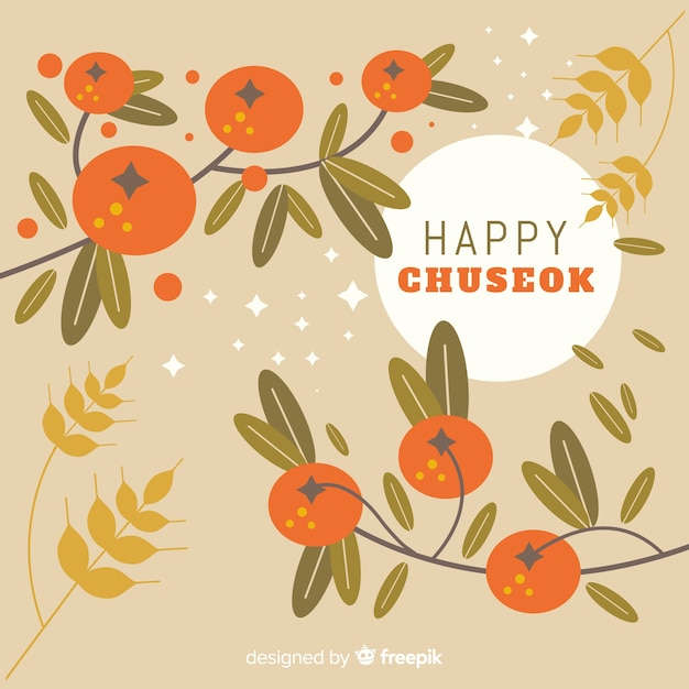 Chuseok greeting card with branches Free Vector