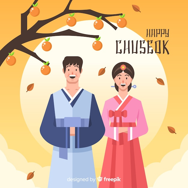Chuseok greeting card with couple and tree Free Vector