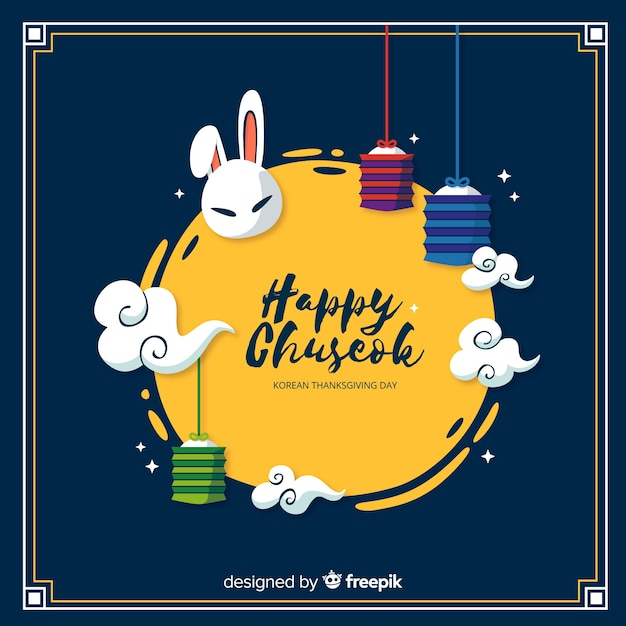 Chuseok greeting card with full moon Free Vector
