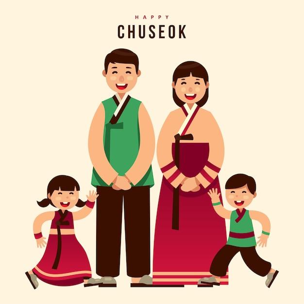 Chuseok hanbok korean thanksgiving family greeting card Premium Vector