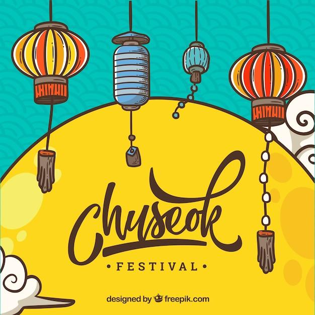 Фестиваль фестиваля chuseok Бесплатные векторы