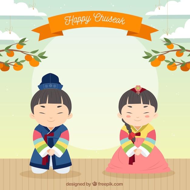 Фон для фестиваля chuseok Бесплатные векторы