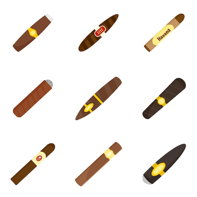 Cigar cuban paper weed icons set Premium Vector