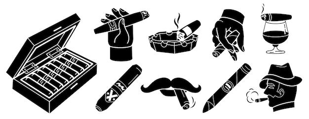 Cigar icons set Premium Vector