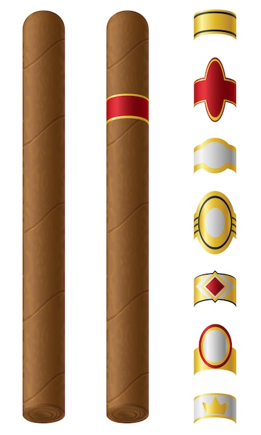 Cigar labels for them vector illustration Premium Vector