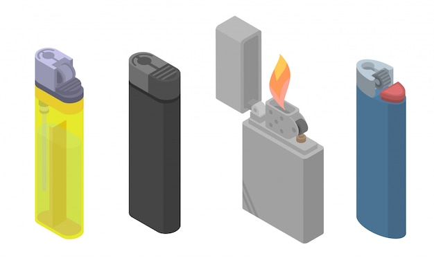 Cigarette lighter icons set, isometric style Premium Vector