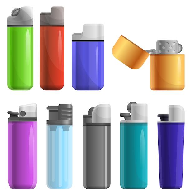 Cigarette lighter set, cartoon style Premium Vector