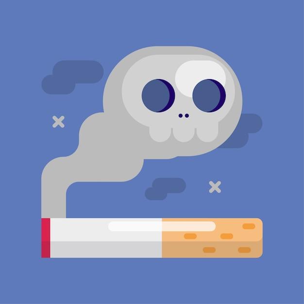 Cigarette with a smoke skull Premium Vector