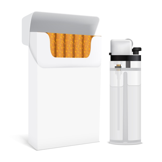 Cigarettes pack and lighter set Free Vector