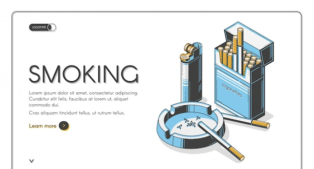 Cigarettes in package with ashtray and lighter Free Vector