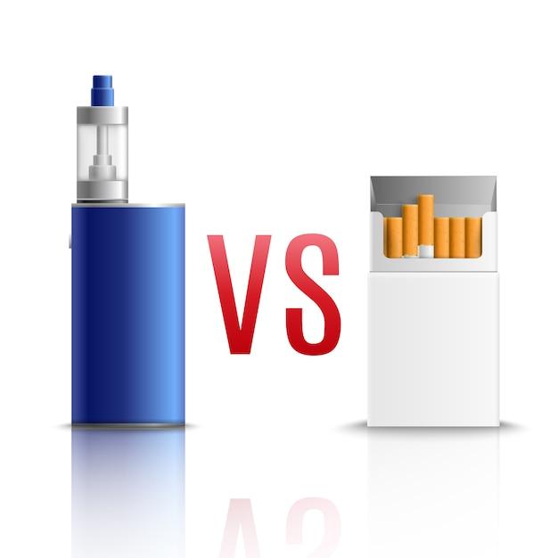 Cigarettes vs vaping realistic Free Vector