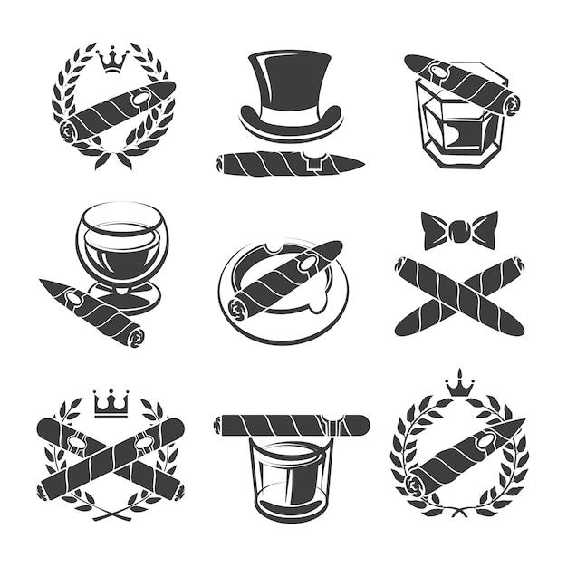 Insieme di marchio di sigari. tabacco e nicotina, dipendenza e bevande. illustrazione vettoriale Vettore gratuito