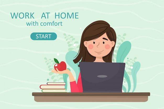Работа на дому с cimfort. девушка-фрилансер работает дома за ноутбуком, удаленная работа. иллюстрация в мультяшном стиле. Premium векторы