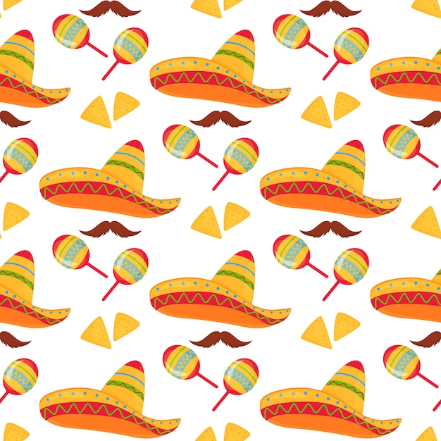 Cinco de mayo. 5th of may. mexican sombrero, nachos, mustache and maracas seamless pattern. Premium Vector
