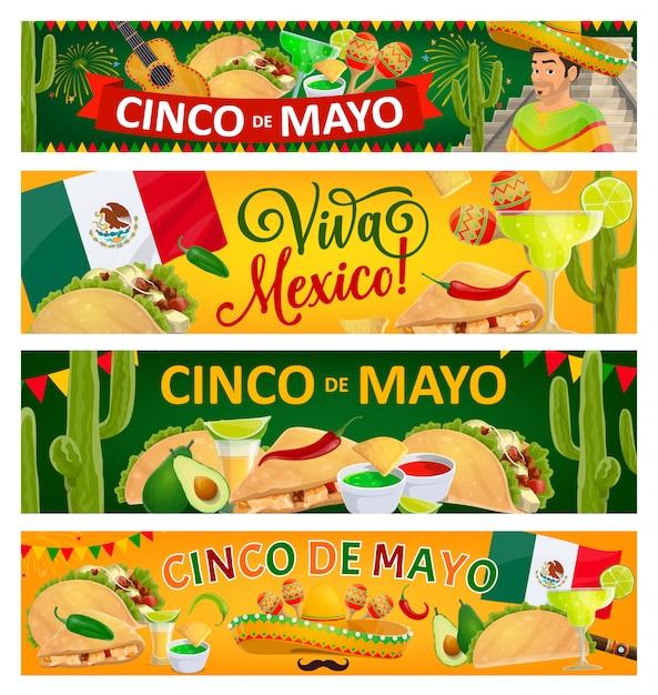 Синко де майо и viva mexico праздничные баннеры Premium векторы