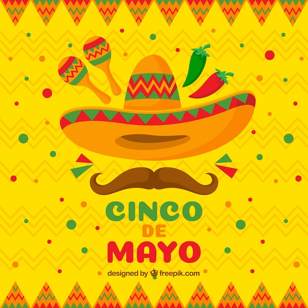 Cinco De Mayo Background In Flat Style Vector | Free Download