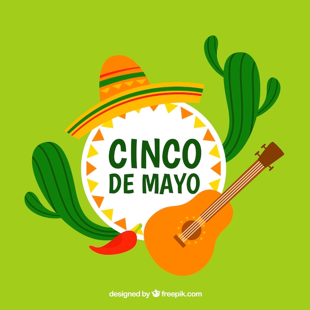 Cinco de mayo background with cactus and guitar Free Vector