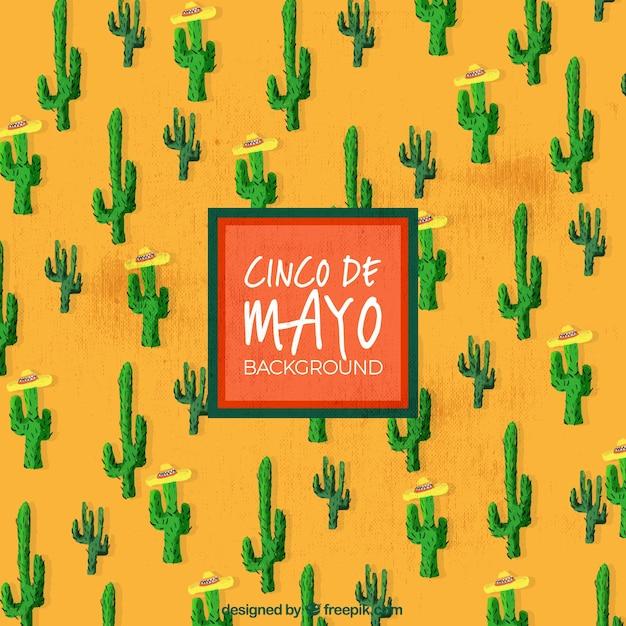 Cinco De Mayo Background With Cactus Vector | Free Download