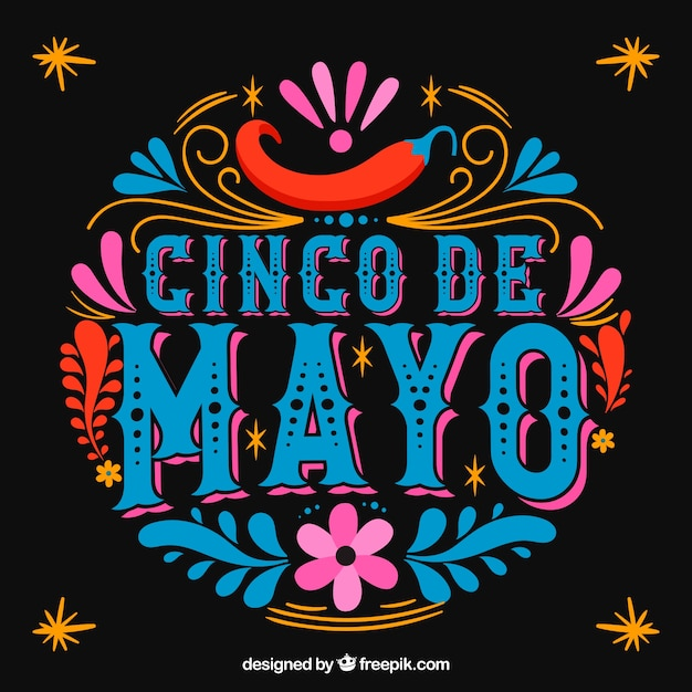 Cinco de mayo background with coloful ornaments Free Vector