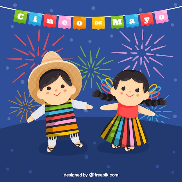 Cinco de mayo background with cute kids Free Vector