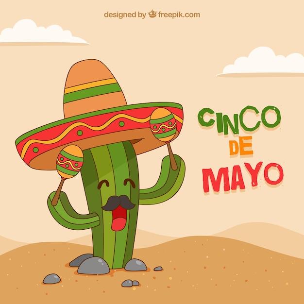 Cinco de mayo background with funny cactus Vector   Free Download