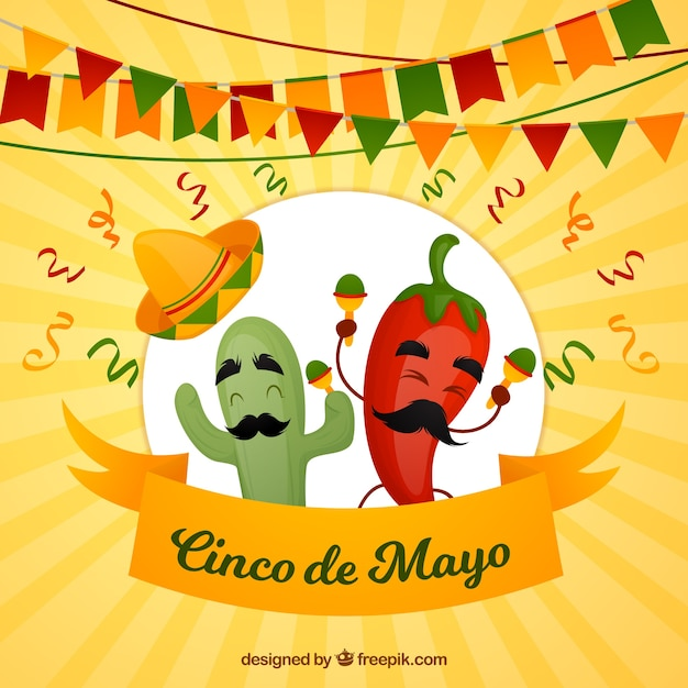 Cinco de mayo background with funny chili Free Vector