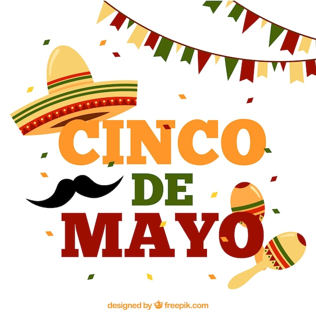 Cinco De Mayo Background With Garlands And Maracas Free Vector