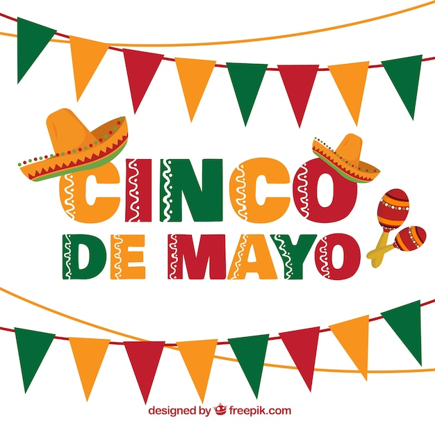 Cinco De Mayo Background With Garlands And Mexican Hats Free Vector