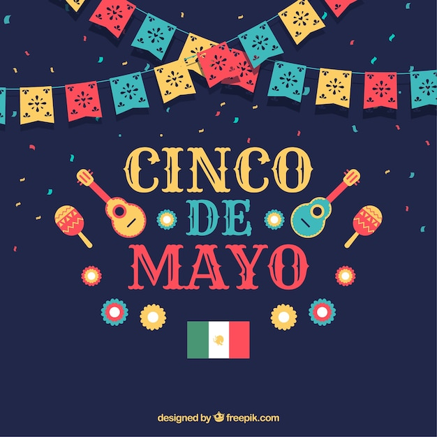 Cinco de mayo background with instruments and pennants Free Vector