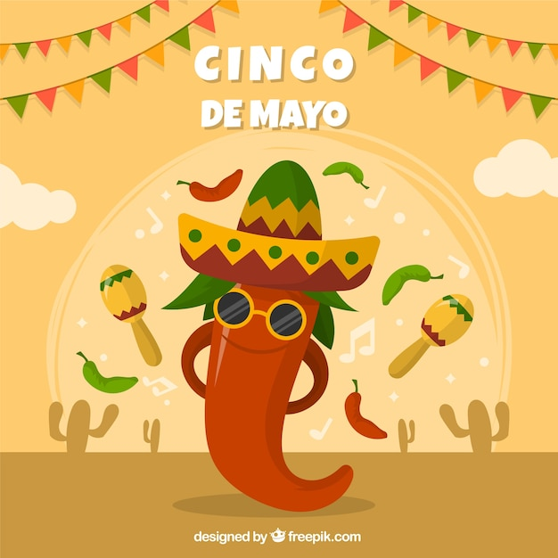フラットなスタイルのメキシコの要素を持つcinco de mayoの背景 無料ベクター