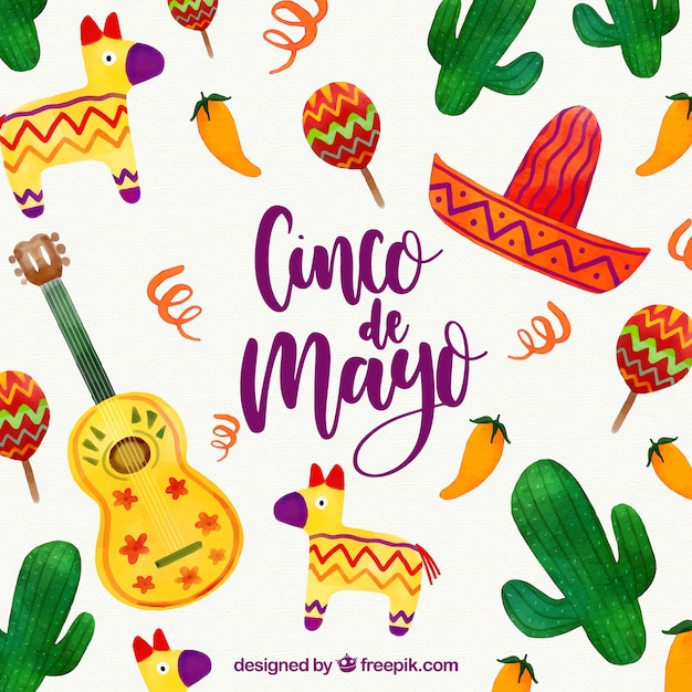 Cinco de mayo background with mexican elements Free Vector