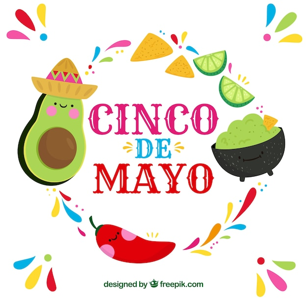 Cinco De Mayo Background With Mexican Food Free Vector