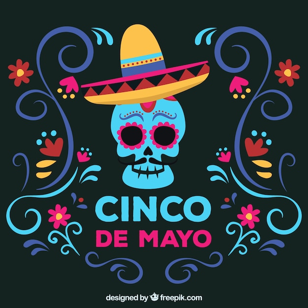 Cinco De Mayo Background With Mexican Skull Free Vector