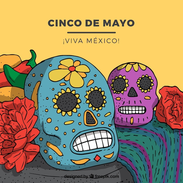 Cinco De Mayo Background With Mexican Skulls Free Vector