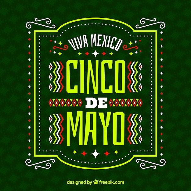 Cinco de mayo background with ornaments Free Vector