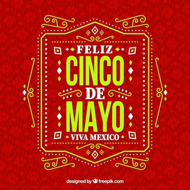 Cinco de mayo background with ornaments Free Vector